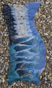 Reflections of Venice Wallhanging Merino wool, silk and cotton fabric, yarn. Wet felted, stitched