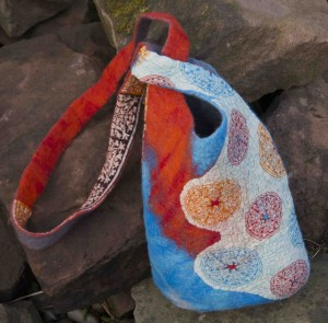 Merino wool and Indian cotton lawn Japanese knot bag